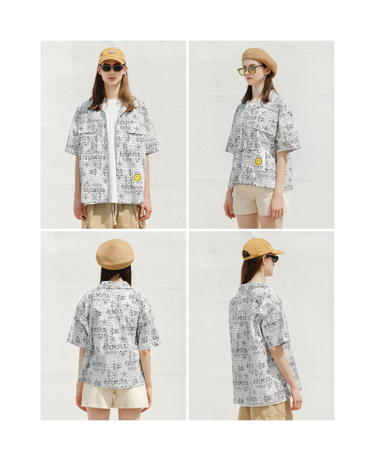 제너럴아이디어 스탠다드(GENERALIDEA STANDARD) 페이즐리 하프 셔츠 [WHITE] / S21D04002